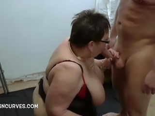 Young well endowed and fucking a Granny