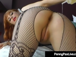 Oiled Up Busty Redhead Penny Pax Plugs Her Butthole & Pussy!