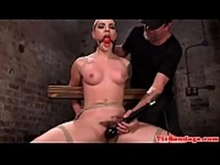 Gagging submissive whipped and pussytoyed