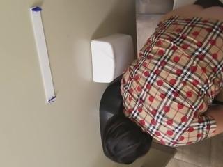 Gas Station Toilet Voyeur XXIV (Short Haired Brunette)