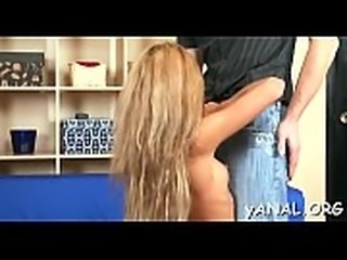 Lovely petite babe gets her anal lanced by naughty ramrod