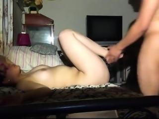 Busty Korean babe has a fat cock buried deep inside her twat