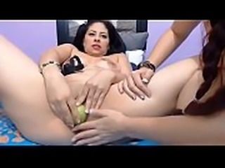 An apple a day keeps the doctor away - Cam Lesbian inserts an apple