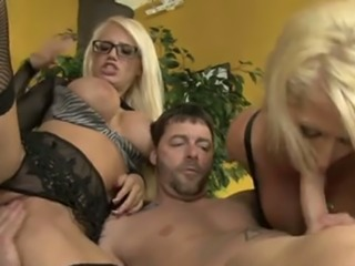 Two busty gorgeous blondies blow one sweet big cock