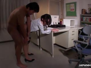 Lusty Japanese teacher Minami Kitagawa doggy styled by horny