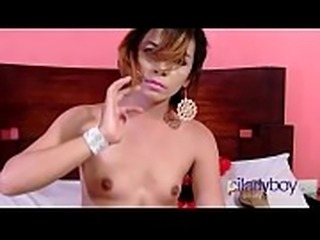 Small titties and hairy balls and dick Ladyboy wank and cum on belly