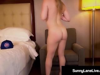 Sex Fiend Sunny Lane Finger Fucks Her Wet Pussy In Cubs Gear