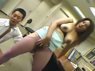 Perverted Japanese slut in fishnet stockings Yui Tokui gets bushy cunt teased