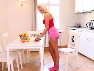 Blonde hottie Katy Sky likes to maintain a healthy diet, so