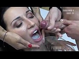 Premium Bukkake - Linda swallows 73 huge mouthful cumshots
