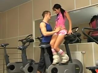 Adorable girl hardcore in the gym
