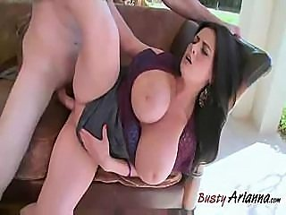 Chubby Arianna comes home to suck and fuck this cock on the couch