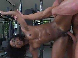 Black slut having her daily workout