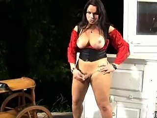 Booty Shemale Strokes Her Dick