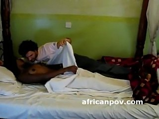 Hangover Cameroon girl has interracial morning sex on spycam